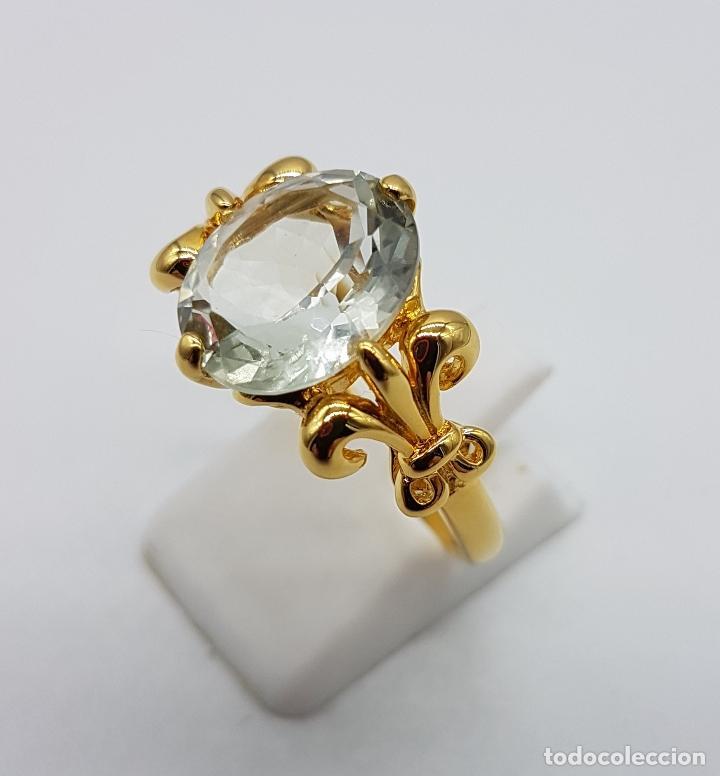 Joyeria: Magnífica sortija tipo imperio en plata de ley, oro de 18k, y aguamarina talla oval autentica . - Foto 5 - 221672416