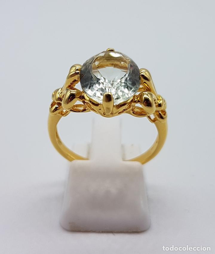 Joyeria: Magnífica sortija tipo imperio en plata de ley, oro de 18k, y aguamarina talla oval autentica . - Foto 6 - 221672416