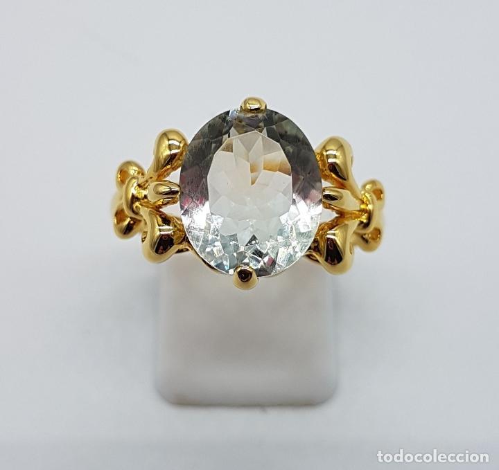 Joyeria: Magnífica sortija tipo imperio en plata de ley, oro de 18k, y aguamarina talla oval autentica . - Foto 7 - 221672416