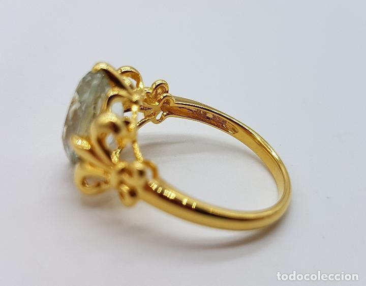 Joyeria: Magnífica sortija tipo imperio en plata de ley, oro de 18k, y aguamarina talla oval autentica . - Foto 8 - 221672416