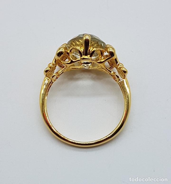 Joyeria: Magnífica sortija tipo imperio en plata de ley, oro de 18k, y aguamarina talla oval autentica . - Foto 2 - 221672416