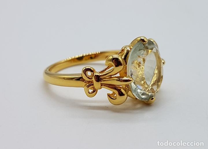Joyeria: Magnífica sortija tipo imperio en plata de ley, oro de 18k, y aguamarina talla oval autentica . - Foto 3 - 221672416