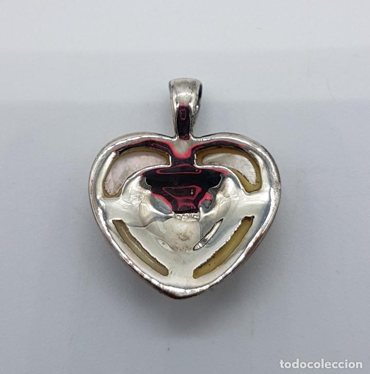 Joyeria: Colgante antiguo en forma de corazón en plata de ley, marquesitas y aplicaciones de nacar autentico. - Foto 5 - 100471511