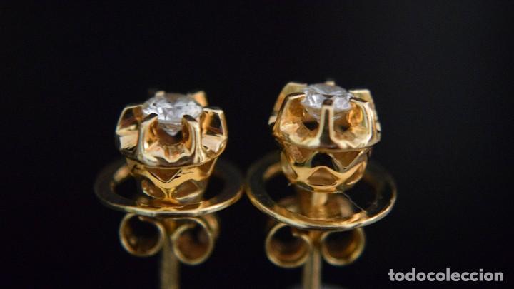 Joyeria: LIQUIDACIÓN, pendientes Dormilonas de diamantes 0,20ct VS-G en oro amarillo 18K - Foto 2 - 100734023