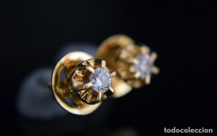 Joyeria: LIQUIDACIÓN, pendientes Dormilonas de diamantes 0,20ct VS-G en oro amarillo 18K - Foto 3 - 100734023