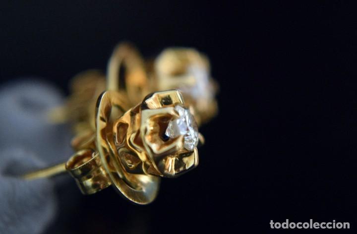 Joyeria: LIQUIDACIÓN, pendientes Dormilonas de diamantes 0,20ct VS-G en oro amarillo 18K - Foto 4 - 100734023