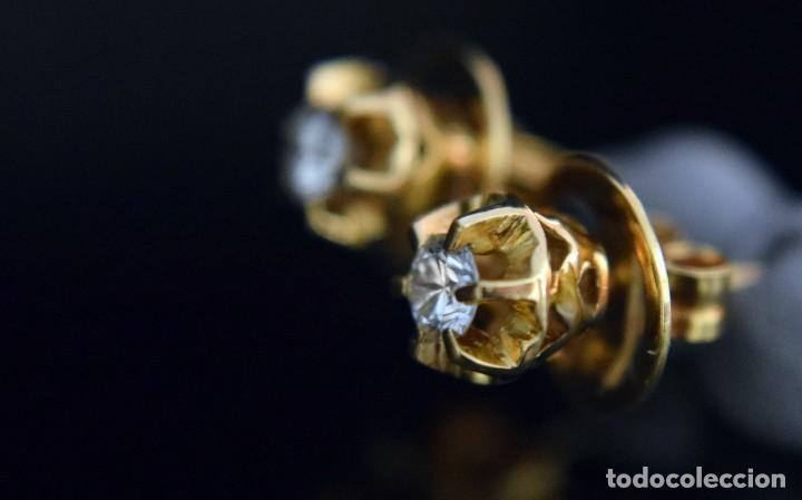 Joyeria: LIQUIDACIÓN, pendientes Dormilonas de diamantes 0,20ct VS-G en oro amarillo 18K - Foto 8 - 100734023