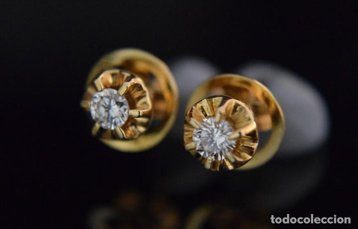 Joyeria: LIQUIDACIÓN, pendientes Dormilonas de diamantes 0,20ct VS-G en oro amarillo 18K - Foto 9 - 100734023