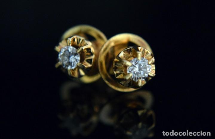 Joyeria: LIQUIDACIÓN, pendientes Dormilonas de diamantes 0,20ct VS-G en oro amarillo 18K - Foto 10 - 100734023