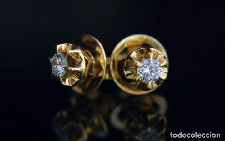 Joyeria: LIQUIDACIÓN, pendientes Dormilonas de diamantes 0,20ct VS-G en oro amarillo 18K - Foto 11 - 100734023