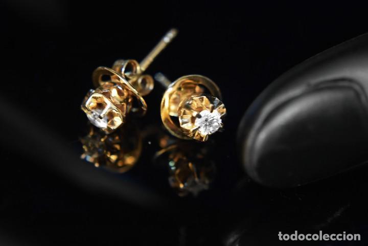 Joyeria: LIQUIDACIÓN, pendientes Dormilonas de diamantes 0,20ct VS-G en oro amarillo 18K - Foto 12 - 100734023