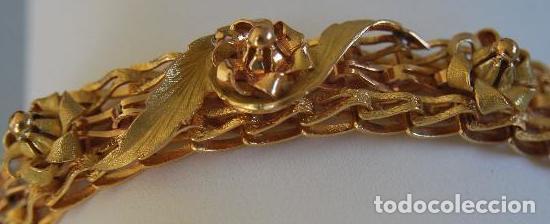 Joyeria: Exclusiva pulsera de oro de 18 Kt. con decoraciones florales - Foto 2 - 210944880