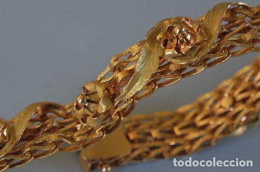 Joyeria: Exclusiva pulsera de oro de 18 Kt. con decoraciones florales - Foto 3 - 210944880