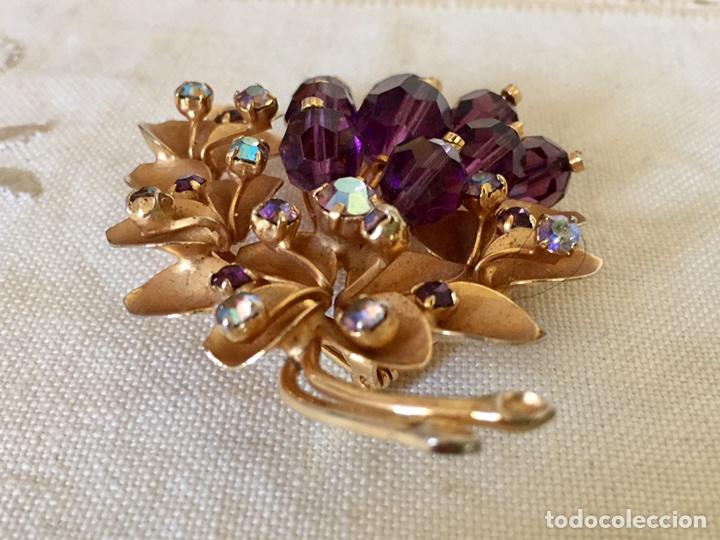Joyeria: Broche dorado y cristales años 50 - Foto 5 - 101649068