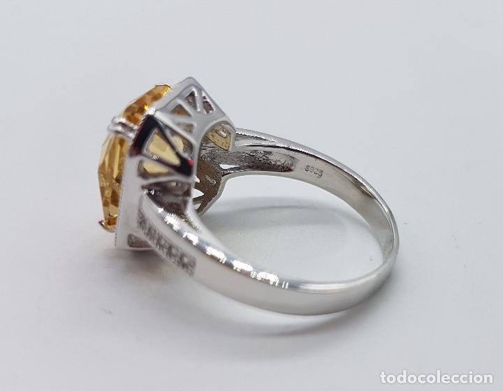 Joyeria: Magnífico anillo tipo imperial en plata de ley, gran topacio talla esmeralda facetada y circonitas . - Foto 6 - 140068658