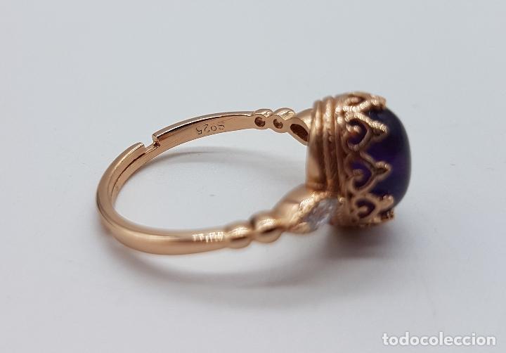 Joyeria: Bella sortija de estilo gotico en plata de ley, oro de 18k, circonitas y cabujón de amatista . - Foto 5 - 102275619