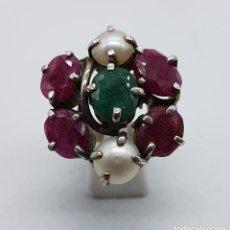 Jewelry - Espectacular anillo antiguo en plata de ley punzonada, rubíes, perlas y esmeralda engarzadas . - 102440615
