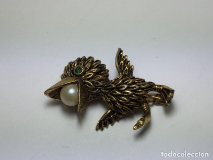 Joyeria: Broche de pajaro chapado en oro y perla - Foto 2 - 102783231