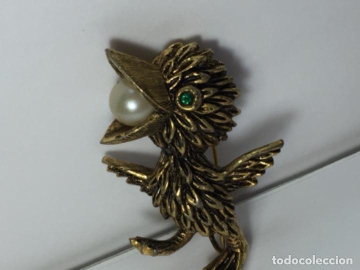 Joyeria: Broche de pajaro chapado en oro y perla - Foto 5 - 102783231