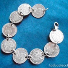 Joyeria: PULSERA CON 9 MONEDAS (REPRODUCCIONES) PLATA ISABEL II. Lote 102971475