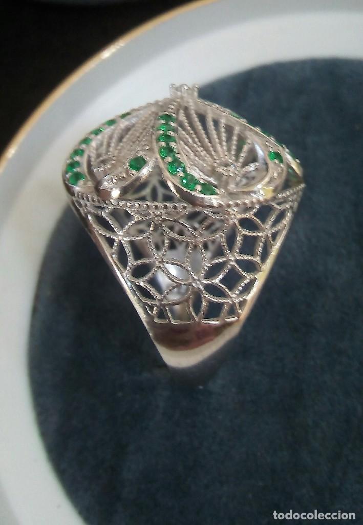 Joyeria  Juego de pendientes y anillo en filigrana de plata con piedritas  de diopside de 89262dfeaa9