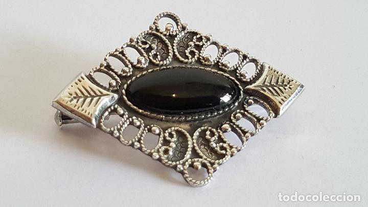 Joyeria: Original broche realizado en plata y azabache. Artesanía en plata. - Foto 3 - 103199319