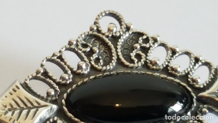 Joyeria: Original broche realizado en plata y azabache. Artesanía en plata. - Foto 4 - 103199319