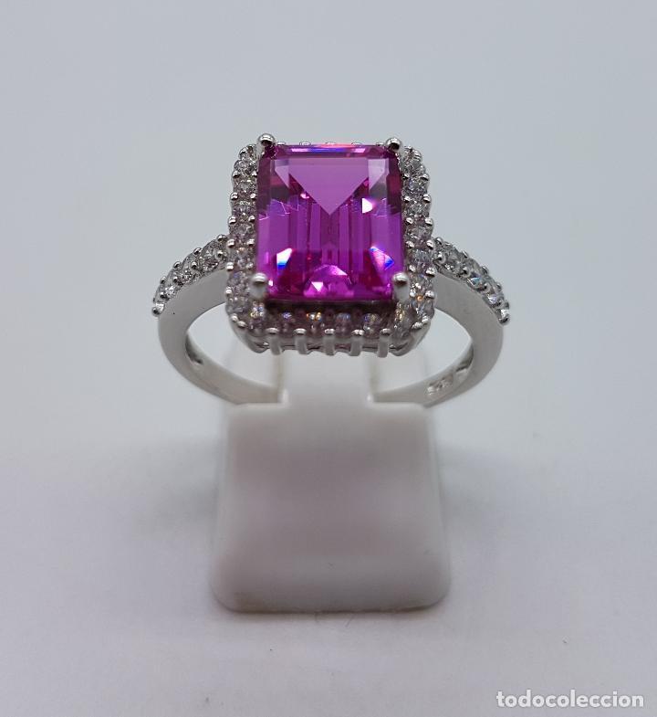 Joyeria: Gran sortija tipo marquesa en plata de ley, circonitas y topacio rosa fucsia talla esmeralda . - Foto 4 - 114120454