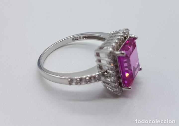 Joyeria: Gran sortija tipo marquesa en plata de ley, circonitas y topacio rosa fucsia talla esmeralda . - Foto 5 - 114120454