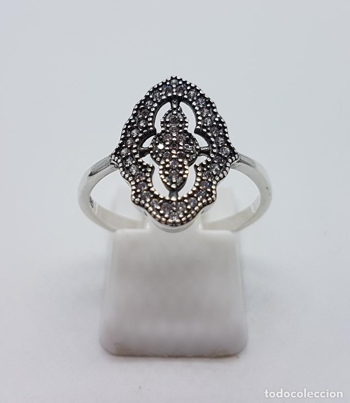 Joyeria: Anillo de estilo gótico en plata de ley contrastada y circonitas talla brillante . - Foto 3 - 103208099