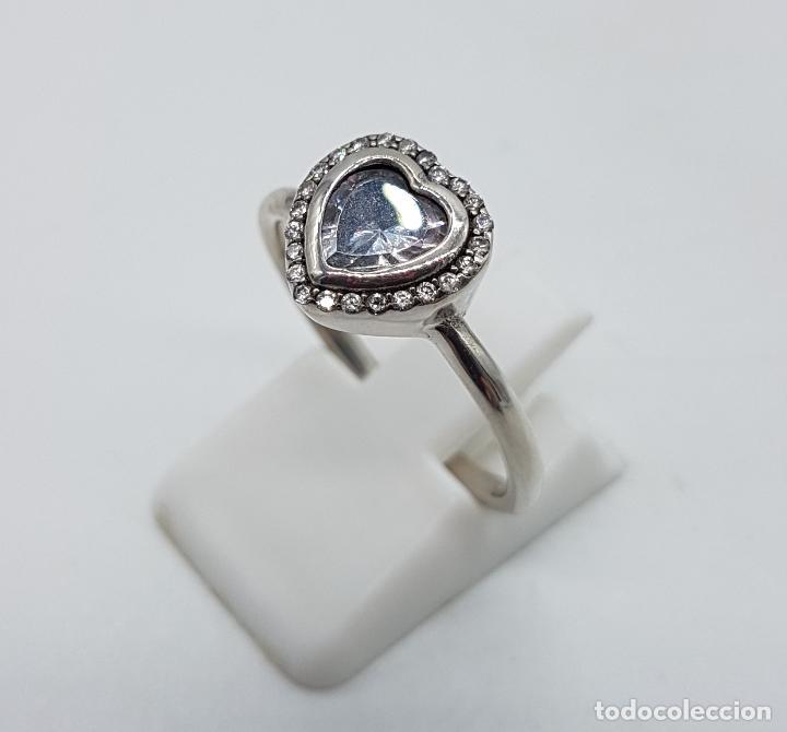 Joyeria: Bella sortija tipo pedida en plata de ley contrastada, circonitas talla brillante y talla corazón . - Foto 2 - 112605495