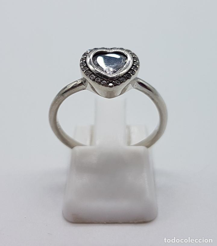 Joyeria: Bella sortija tipo pedida en plata de ley contrastada, circonitas talla brillante y talla corazón . - Foto 3 - 112605495