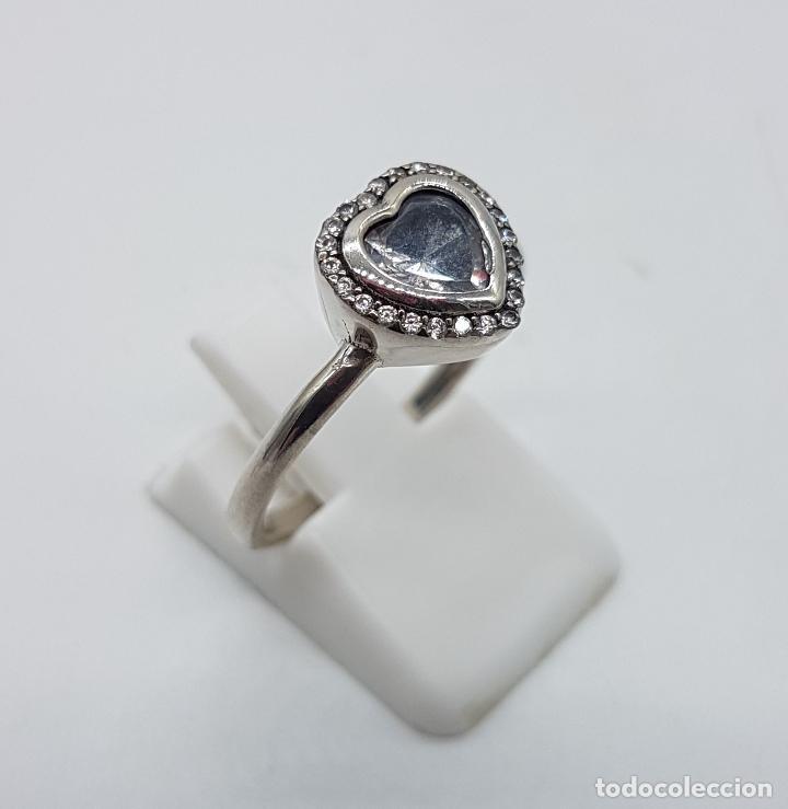 Joyeria: Bella sortija tipo pedida en plata de ley contrastada, circonitas talla brillante y talla corazón . - Foto 4 - 112605495