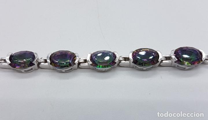 Joyeria: Bella pulsera vintage en plata de ley contrastada y topacios místicos talla oval engarzados . - Foto 3 - 203194457