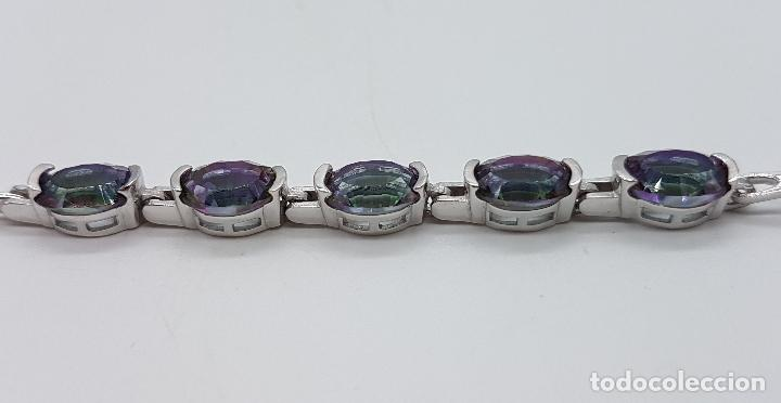 Joyeria: Bella pulsera vintage en plata de ley contrastada y topacios místicos talla oval engarzados . - Foto 6 - 203194457