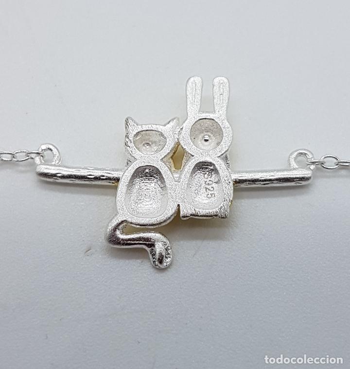 Joyeria: Bella gargantilla en plata de ley contrastada y oro de 18k, con gato y conejo en relieve . - Foto 5 - 103225691