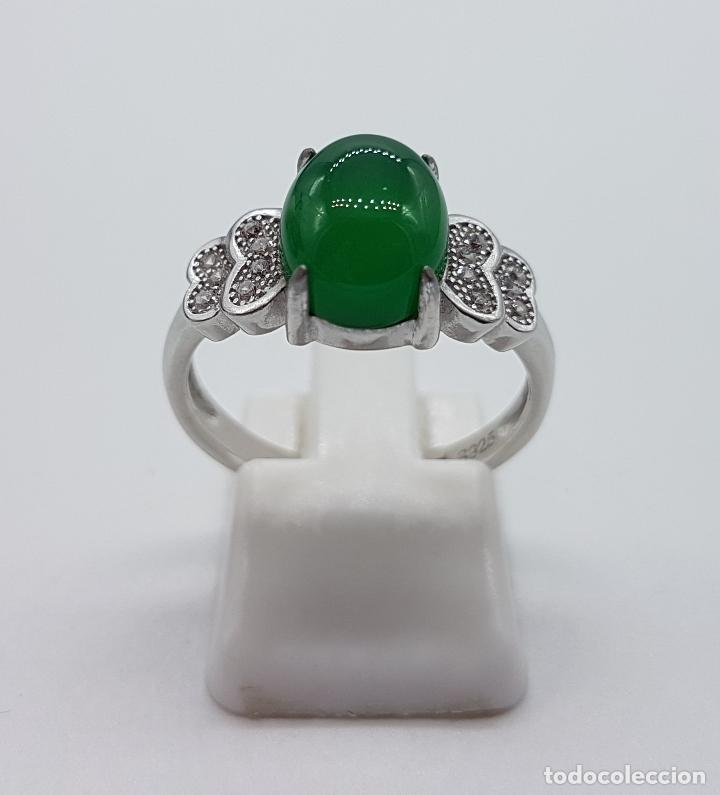 Joyeria: Sortija de estilo vintage en plata de ley contrastada, circonitas talla brillante, cabujón de jade . - Foto 3 - 152707834