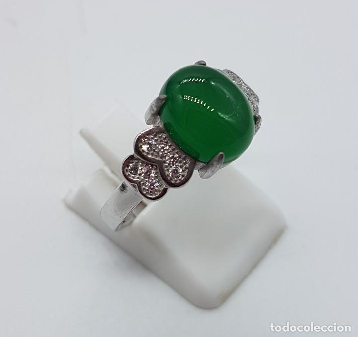 Joyeria: Sortija de estilo vintage en plata de ley contrastada, circonitas talla brillante, cabujón de jade . - Foto 4 - 152707834
