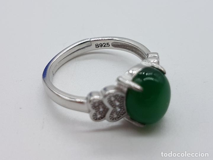 Joyeria: Sortija de estilo vintage en plata de ley contrastada, circonitas talla brillante, cabujón de jade . - Foto 5 - 152707834