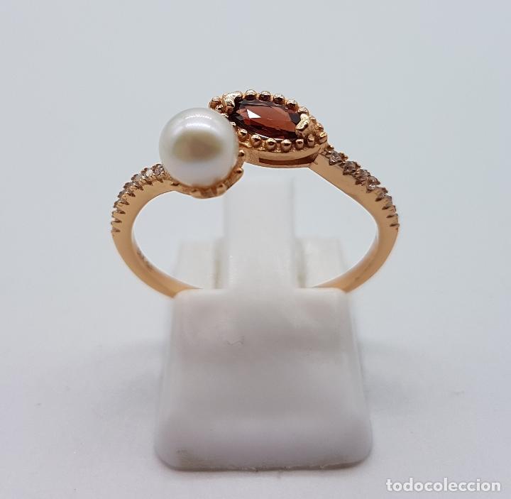 Joyeria: Bella sortija de estilo victoriano en plata de ley, oro de 18k, circonitas, perla y granate . - Foto 4 - 103778531