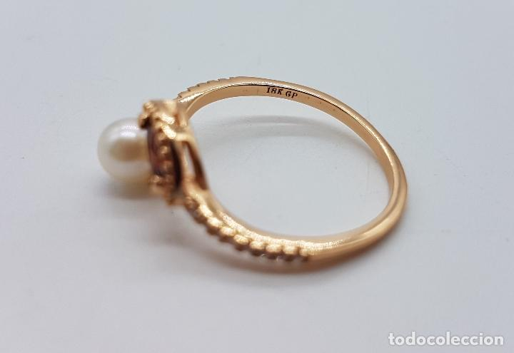 Joyeria: Bella sortija de estilo victoriano en plata de ley, oro de 18k, circonitas, perla y granate . - Foto 5 - 103778531