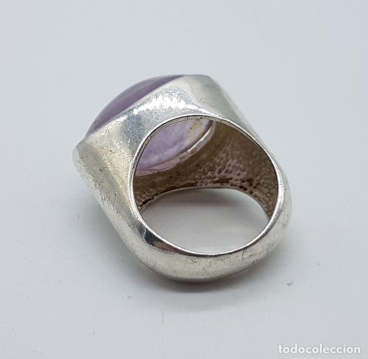 Joyeria: Gran anillo de estilo vintage diseño exclusivo en plata de ley con gran cabujón de cuarzo rosa . - Foto 5 - 194754482