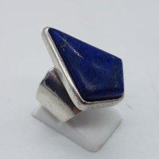 Jewelry - Impresionante anillo antiguo en plata de ley punzonada y cabujón de lapislázuli autentico . - 104227579