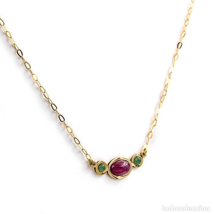 Joyeria: Collar y Colgante con Rubí y Esmeraldas en Oro de Ley 18k - Foto 3 - 236958735