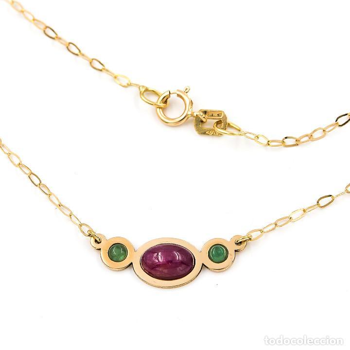 Joyeria: Collar y Colgante con Rubí y Esmeraldas en Oro de Ley 18k - Foto 4 - 236958735