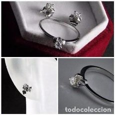 Jewelry - PRECIOSO CONJUNTO SORTIJA SOLITARIO Y PENDIENTES DORMILONAS DE BRILLANTES Y ORO BLANCO 18K - - 96606015