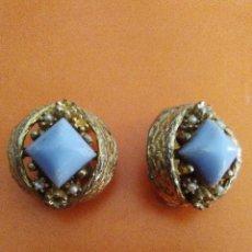 Joyeria - Pareja de pendientes,dorados y con piedra. - 104772283