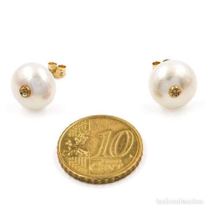 Joyeria: Pendientes Diamantes y Perlas de Botón en Oro de Ley 18k - Foto 4 - 104778671