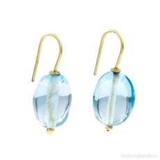 Joyeria - Pendientes Topacio Azul Natural y Oro de Ley 18k - 104780595