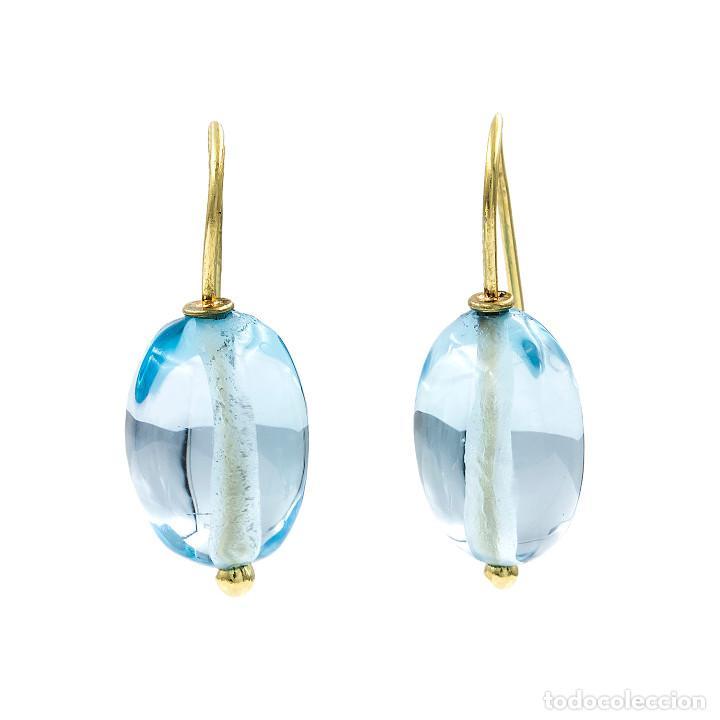 Joyeria: Pendientes Topacio Azul Natural y Oro de Ley 18k - Foto 4 - 104780595